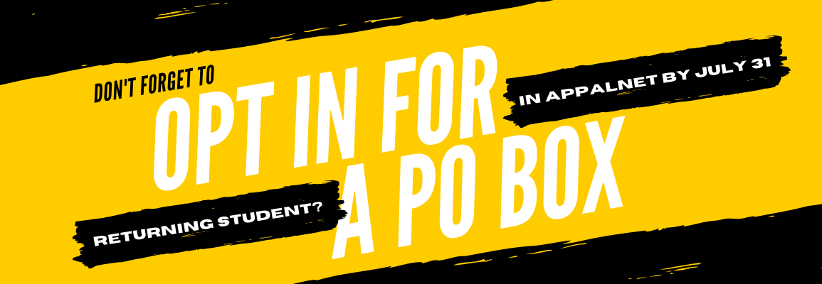 Returning students must opt-in to keep their PO Box by July 31 in AppalNet